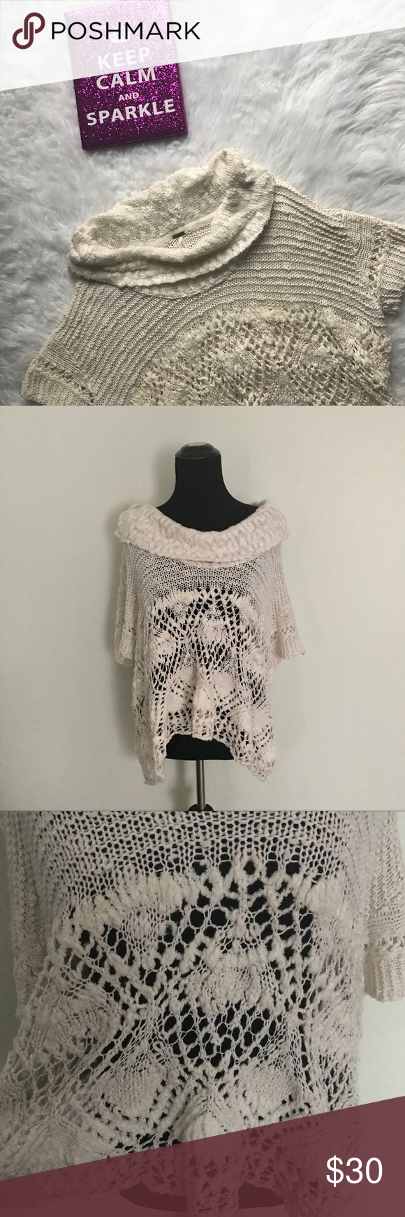 {Free People} Cream Cowl Neck Short Sleeve Sweater This beautiful short sleeve sweater is from Free People and is in a gorgeous Ivory color. Flattering and cozy cowl neck detail. No noticeable flaws. Size large.   🌸MEASUREMENTS & MATERIAL: 🌸 Bust: 21.5 inches across 🌸 Sleeve length: 12 inches 🌸 Sweater length: 23 inches 🌸 Cowl neck: 8 inches 🌸 88% cotton, 5% polyester, 4% rayon, 3% nylon 🌸Feel free to ask for a specific measurement! Free People Tops