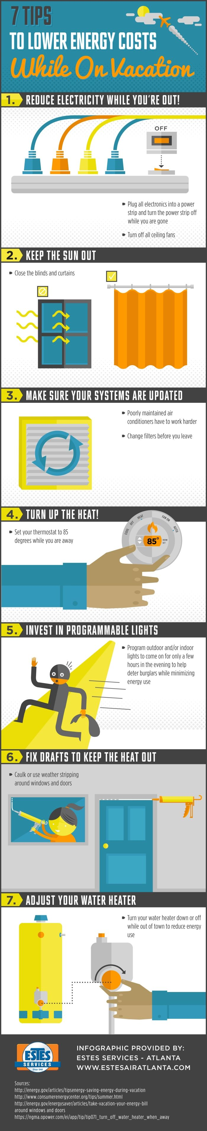 7 Tips To Lower Energy Costs While On Vacation Infographic