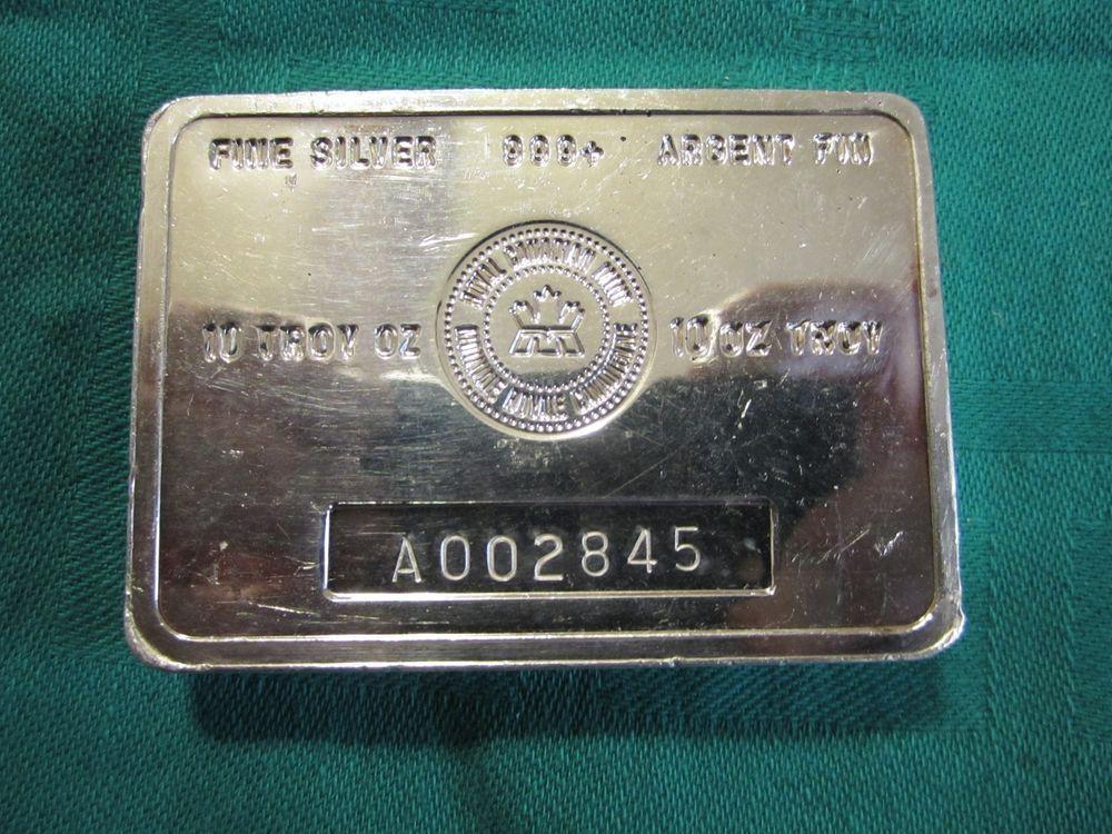 Vintage 10 Oz A Series Royal Canadian Mint 999 Fine Silver Bar Stacker