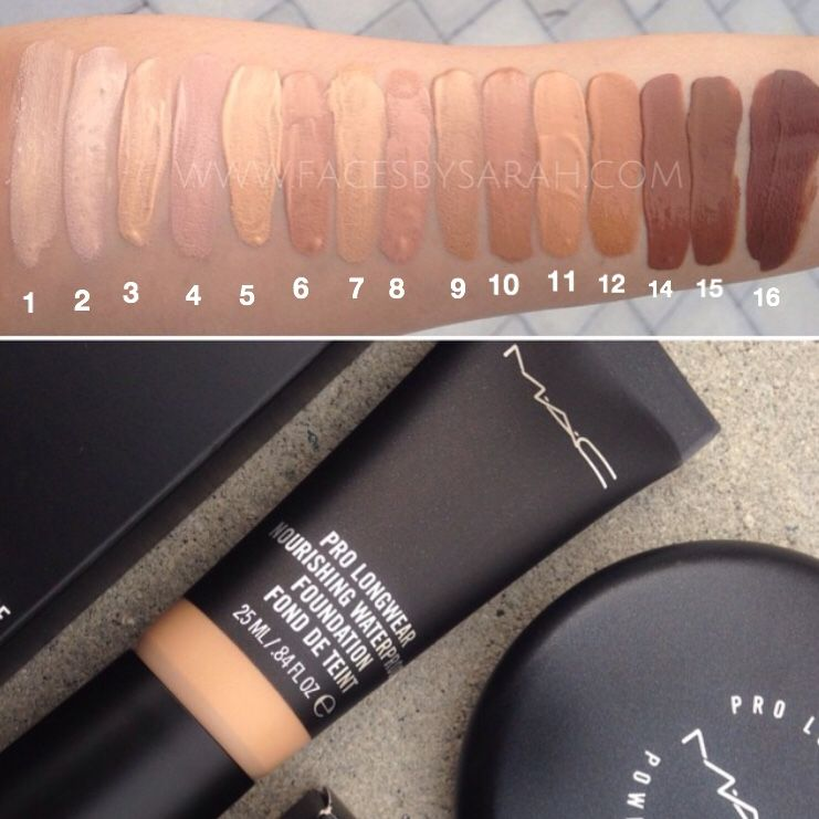 mac pro longwear nourishing waterproof foundation swatches going from numbers on the photo. Black Bedroom Furniture Sets. Home Design Ideas