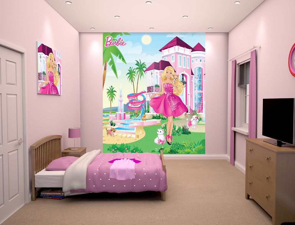 Barbie Wallpaper Mural. #Barbie #GirlsRooms #ChildrensDecor ...