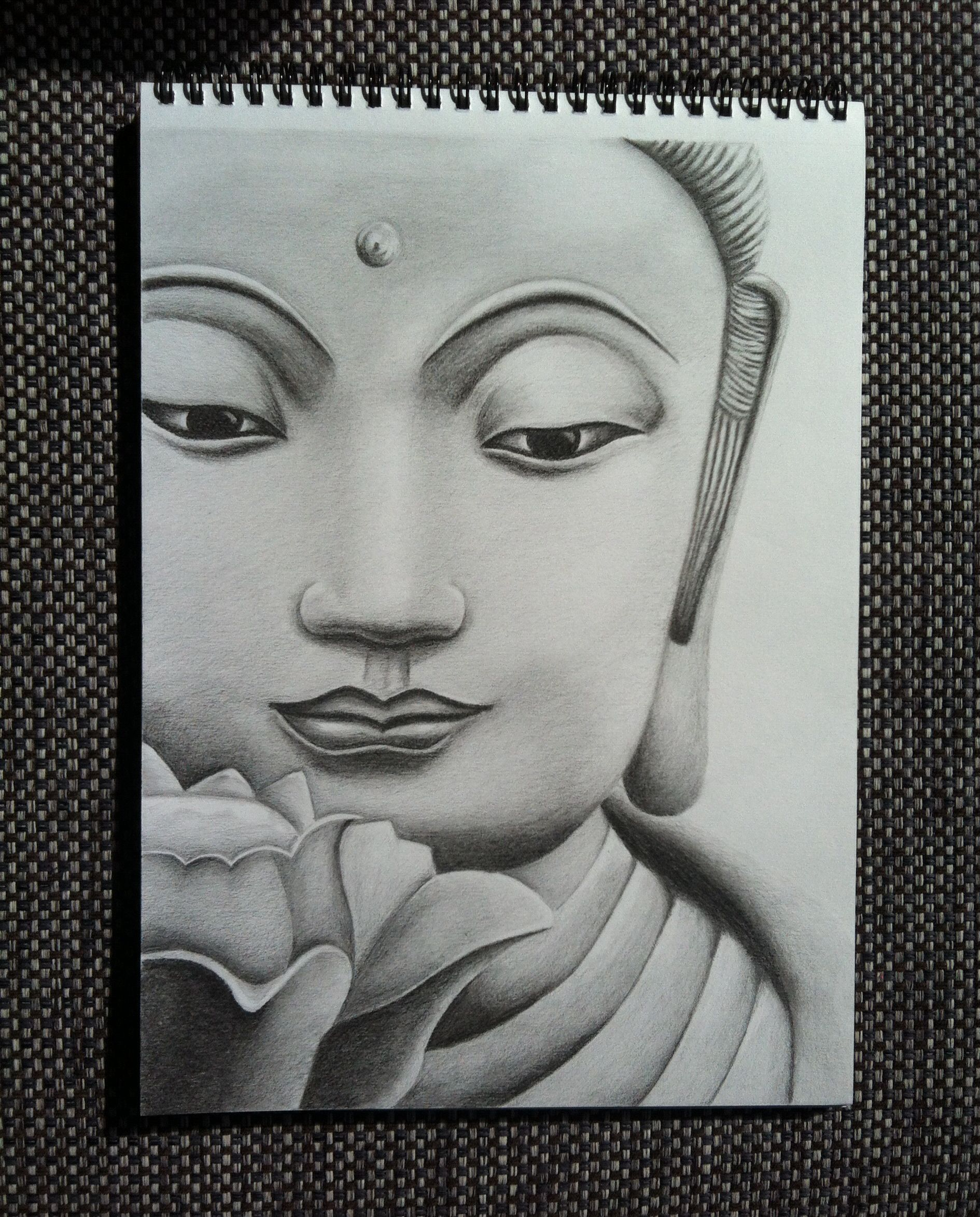 Pencil sketches of gautam buddha