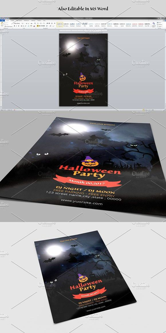 Halloween Party Flyer Template-V631 Invitation Templates