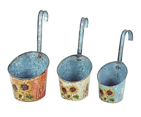 COUNTRY HOME: Set de 3 cestas de estaño Girasol