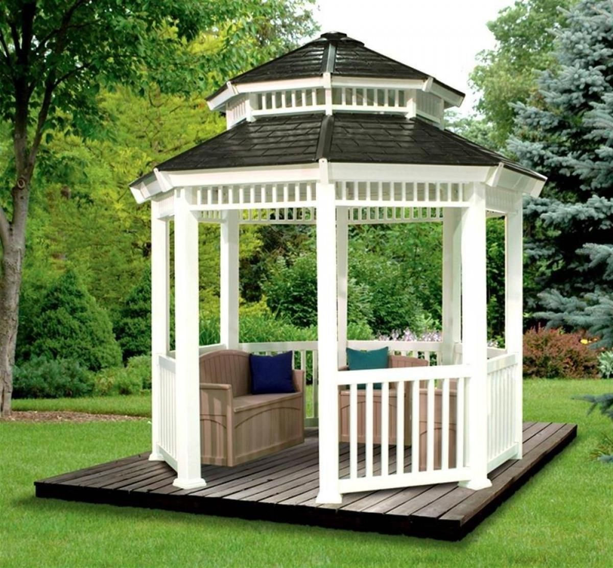 Charming White Gazebo Canopy Decors With Graded Curve