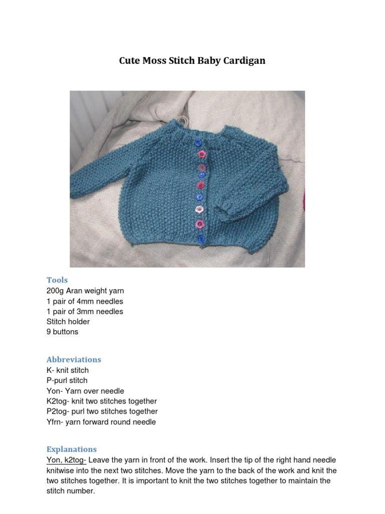 I\'m reading Free knitting pattern: moss stitch baby cardigan on ...