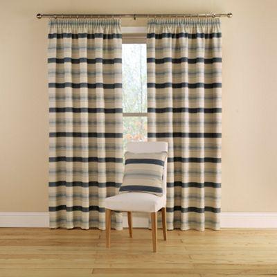 Montgomery China Blue \u0027Vintage Stripe\u0027 Lined Curtains With Pencil - cortinas azules