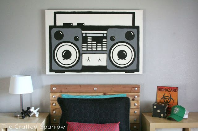 Recycled Canvas Boombox Painting The Crafted Sparrow Canvas Painting Diy Recycled Canvas Diy Painting