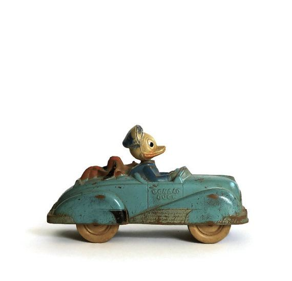 Vintage Walt Disney Donald Duck Rubber Car Toy