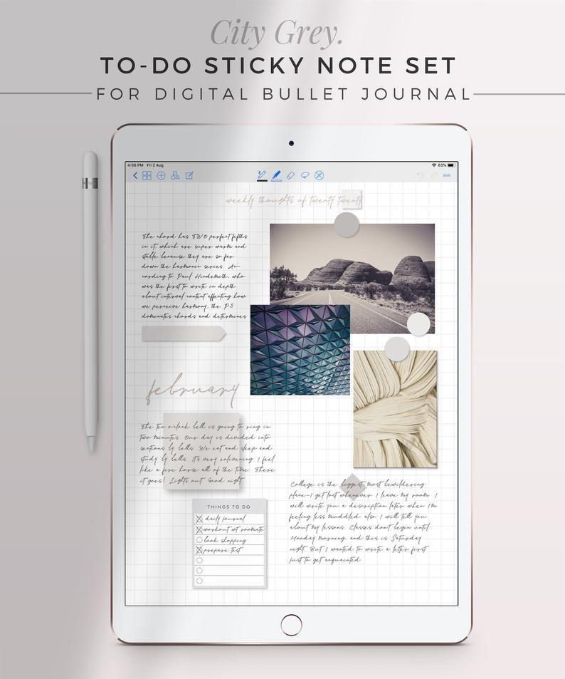 CITY GREY To-Do Digital Sticky Note Set  Neutral Sticky | Etsy