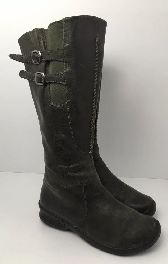 e3e3be10a16e Keen Bern Baby Knee High Leather Boots Side Zip Olive Womens Size US 8  Buckles  KEEN  KneeHighBoots  Casual