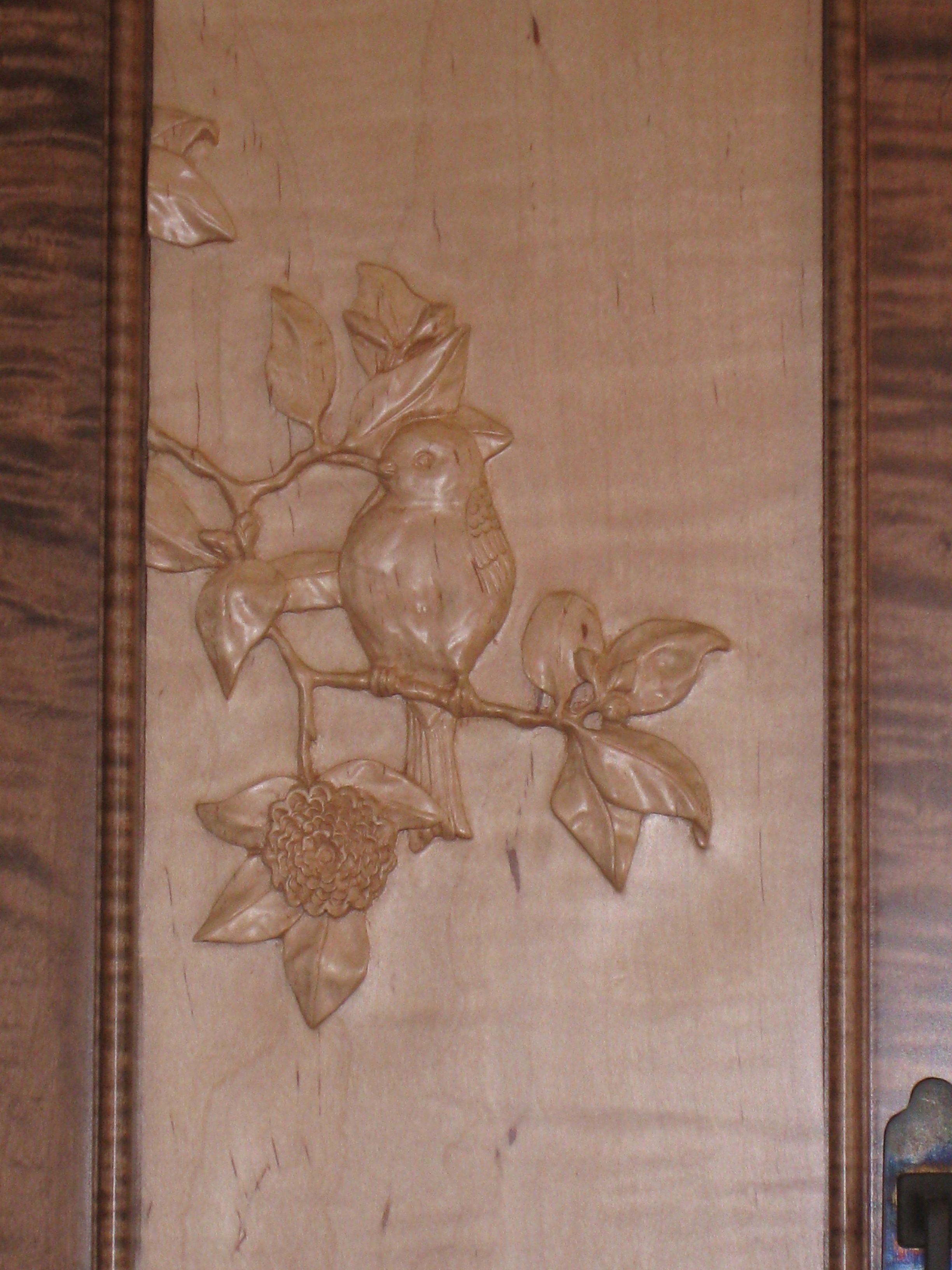 Spice Cabinet Close Up Of Hand Carved Cabinet Door Panel Bird In A
