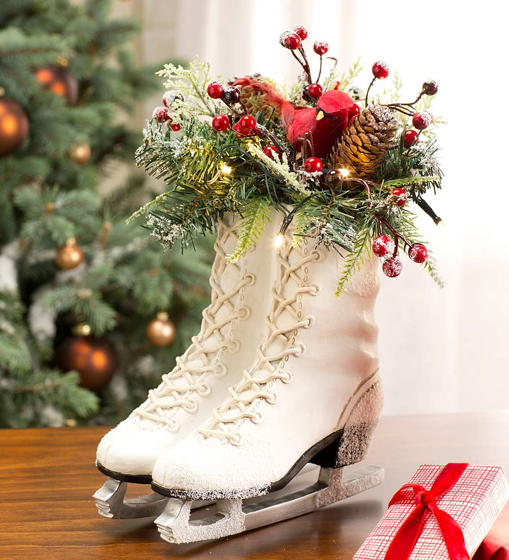 Indoor Wreaths Home Decorating: Lighted Ice Skate Holiday Décor