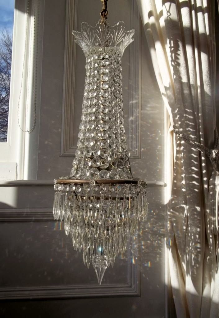 Antique French Tent & Waterfall Crystal Chandelier