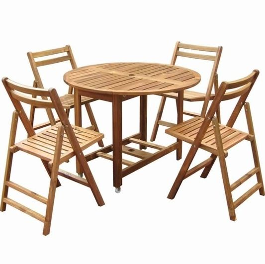 Superb Folding Dining Set W Table 4 Chairs Acacia Wood Actual Bralicious Painted Fabric Chair Ideas Braliciousco