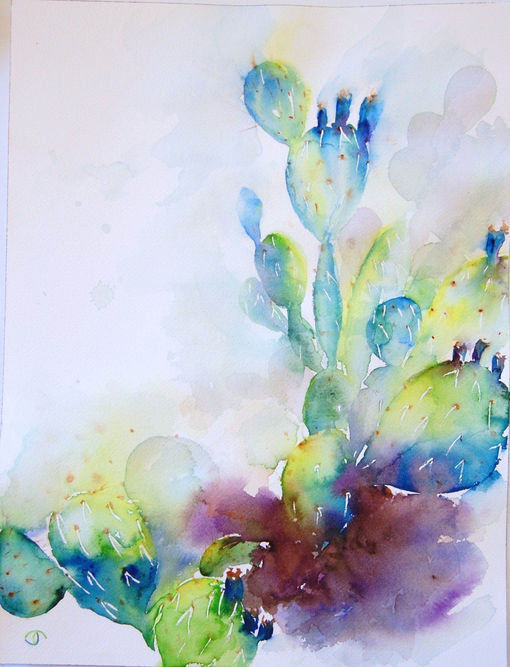 prickly pear cactus watercolor artist Jennifer Thangavelu