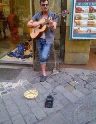 street musician who takes credit cards,