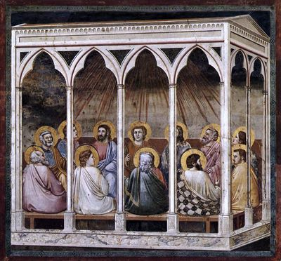 Scenes from the Life of Christ: 23. Pentecost (Cappella Scrovegni (Arena Chapel), Padua) - http://www.artoyster.com/giotto-di_bondone-paintings_scenes-from-the-life-of-christ-23-pentecost-cappella-scrovegn_re33744.html