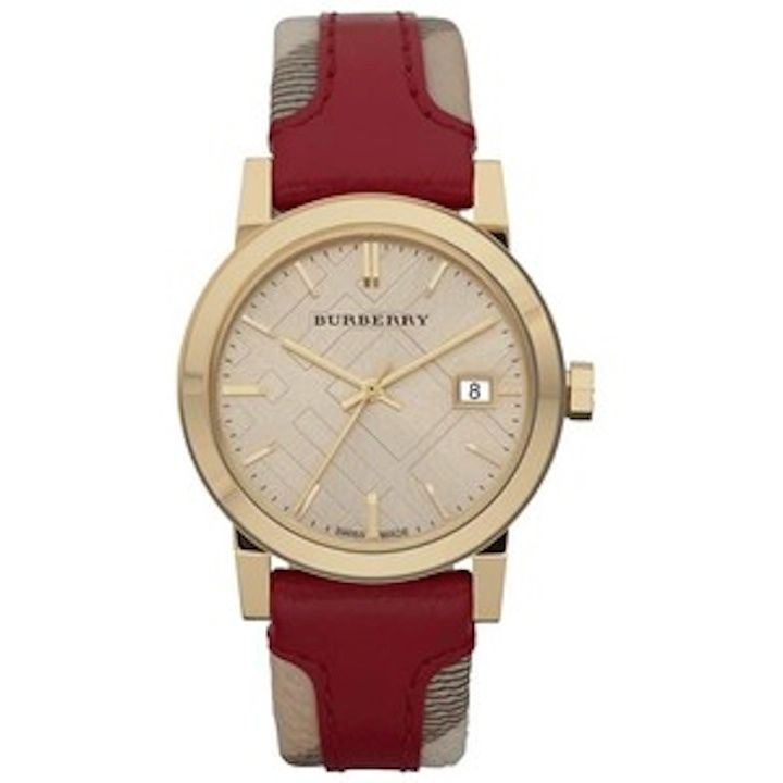 a7aa45d282ed New Burberry Unisex watch Heritage Red Large Check Leather Sapphire 38MM  BU9017