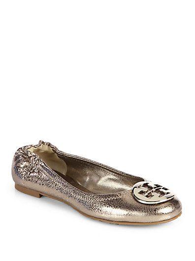 eeb8196c6535 Tory Burch - Reva Crackled Metallic Leather Ballet Flats - Saks.com ...