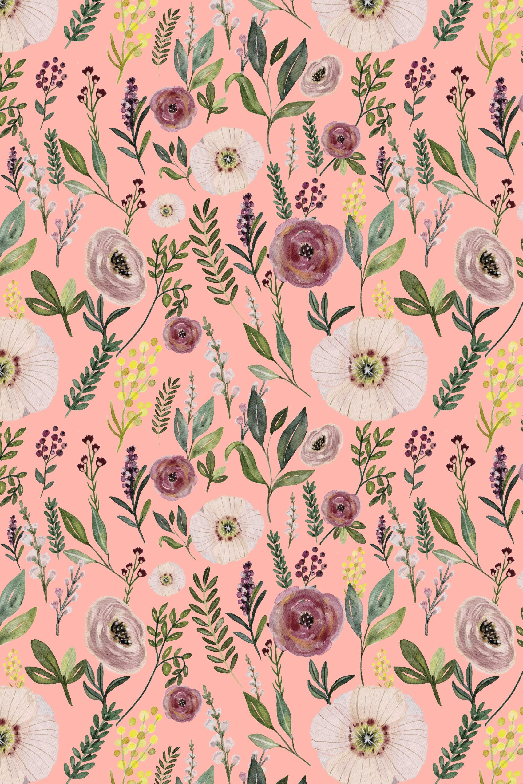 Colorful fabrics digitally printed by Spoonflower - Pink Blush Watercolor M