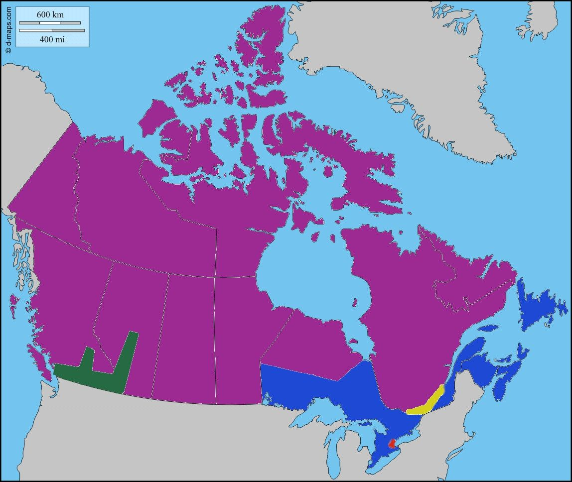 Canada Divided Into Five Regions With Equal Populations