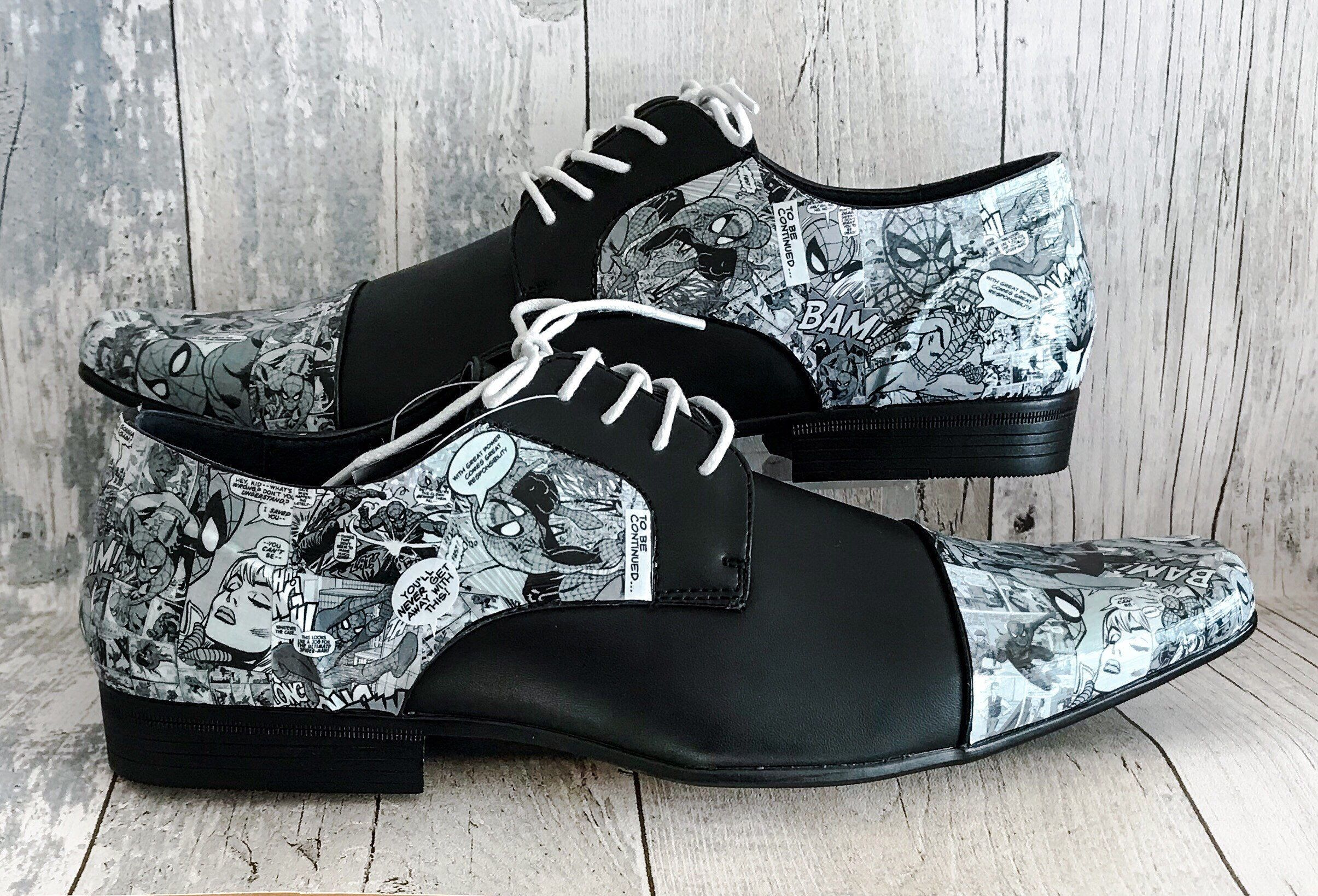 619656b607e Excited to share this item from my  etsy shop  Mens Spiderman Shoes - Groom  Shoes - Wedding Shoes - Mens Shoes - Marvel Shoes - Geek Shoes - Comic Book  ...