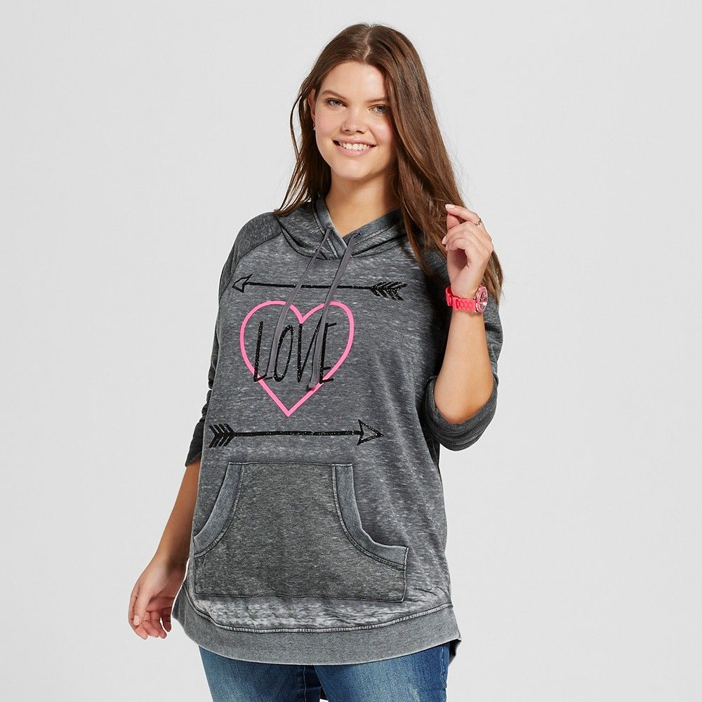 0061bc2deb9 Women s Plus Size Long Sleeve Hooded Pullover with Black Glitter Gray - Miss  Chievous (Juniors )   Target