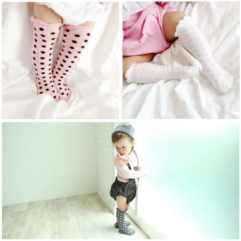 Toddler Kids Baby Girls Cute Knee High Long Socks Cotton Casual Stockings 0-4Y