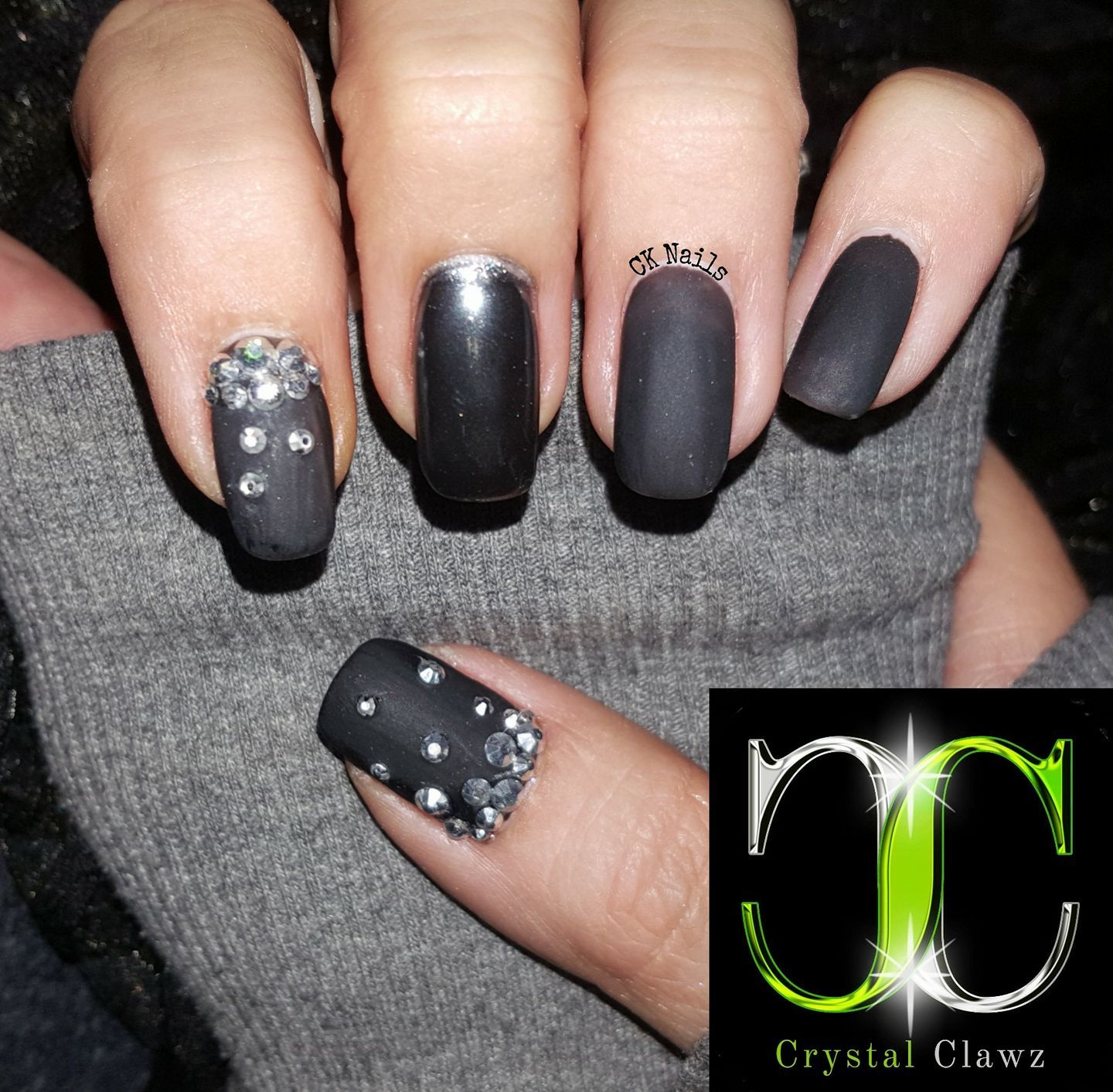 Black With Our Luxurious Rubber Matte Top Coat Finished With A Gunmetal Chrome Nails And Labrador Crystals Cryst Nail Art Supplies Nail Decorations Nail Art