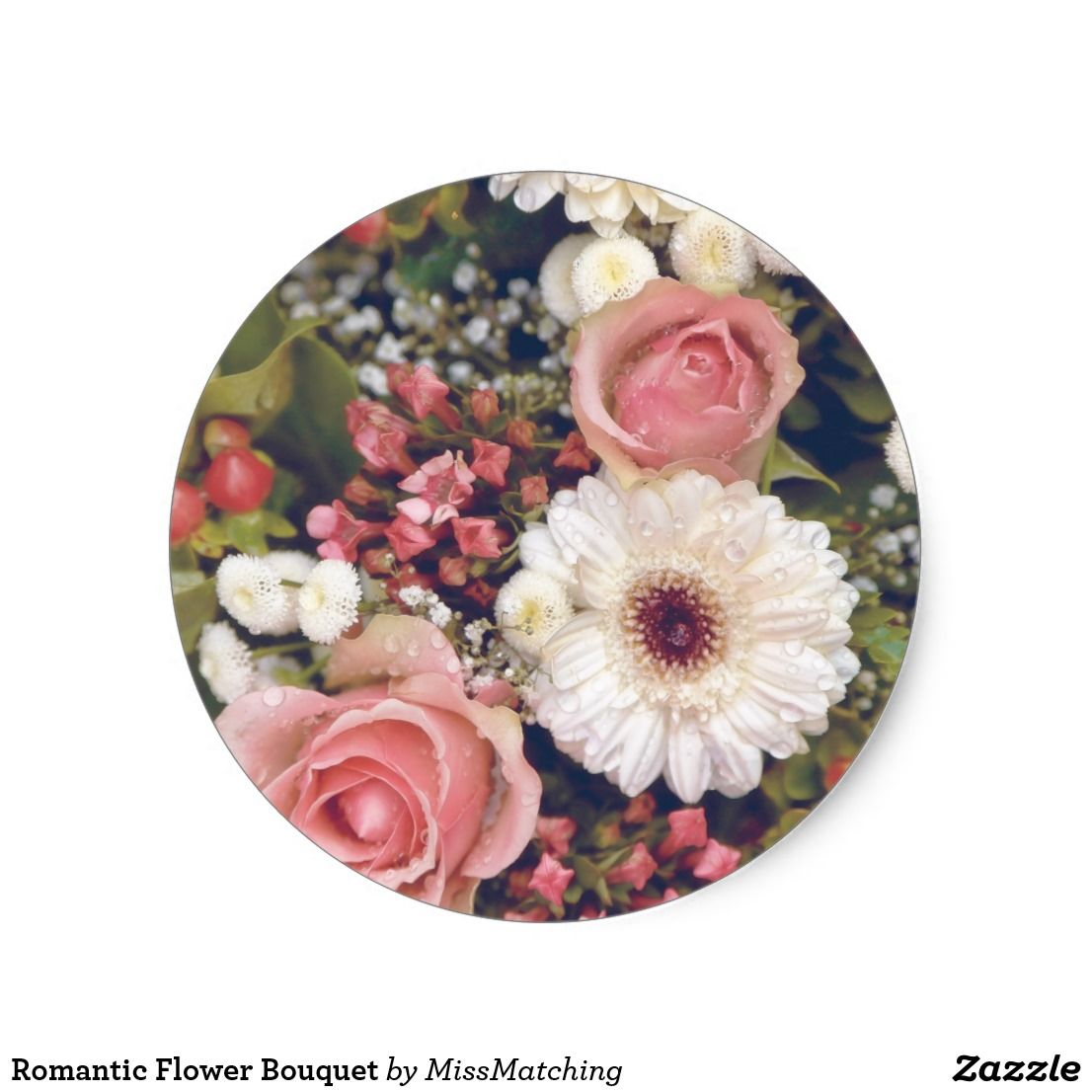 Romantic flower bouquet classic round sticker
