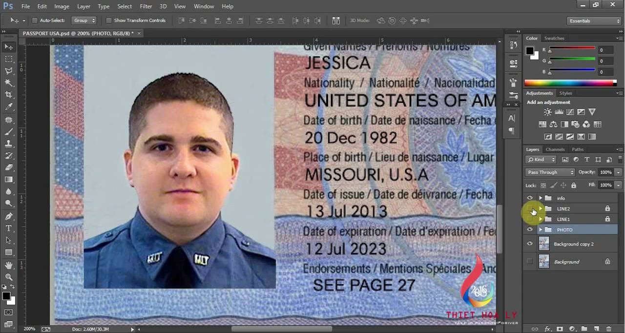 This is USA passport PSD (Photoshop) Template. On this PSD ...