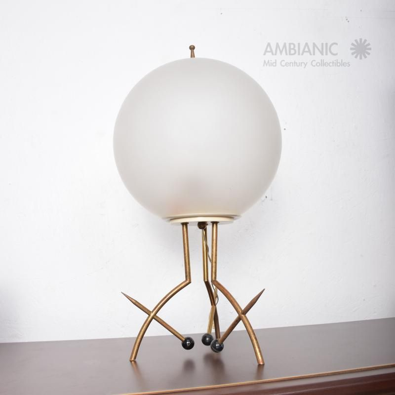 Stilnovo Mid Century Modern Italian Table Lamp With Oversize Frosted Glass Shade Modern Italian Midcentury Modern Glass Shades