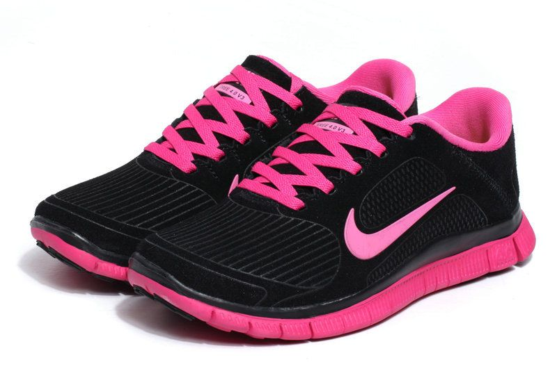 Nike Free 4.0 V3 Suede Womens Black Pink - Click Image to Close