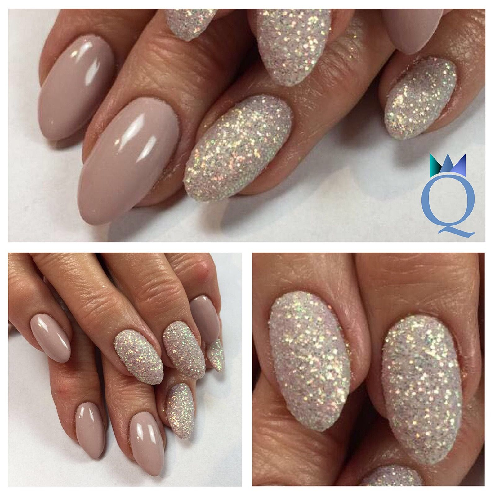 Almondnails Gelnails Nails Taupe Glitter Mandelform Gelnagel