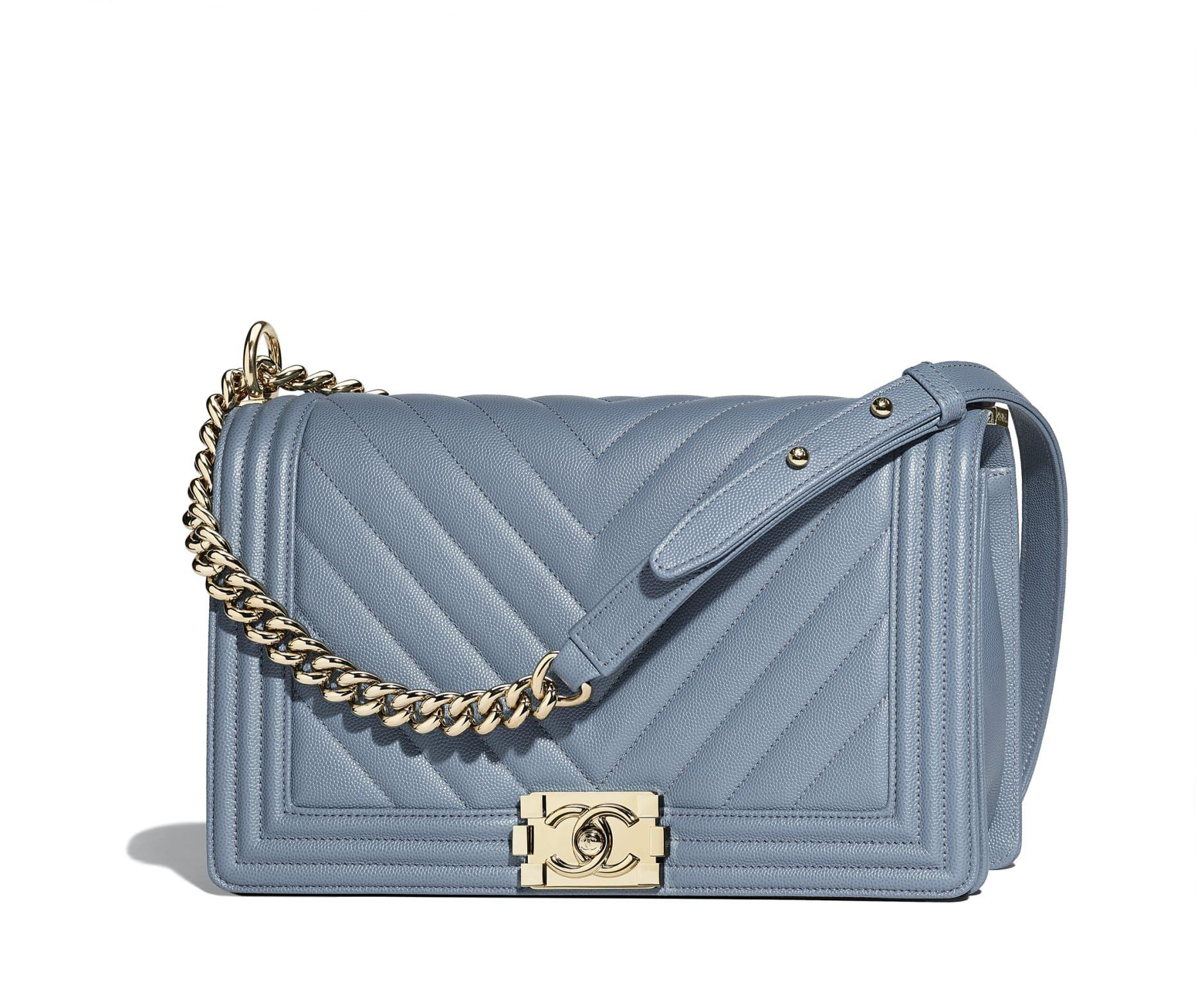 ae16125ceb782b Large BOY CHANEL Handbag, grained calfskin & gold-tone metal, blue - CHANEL  Large BOY CHANEL Handbag Grained calfskin & gold-tone metal Blue 17.5 × 28  × 7.5 ...