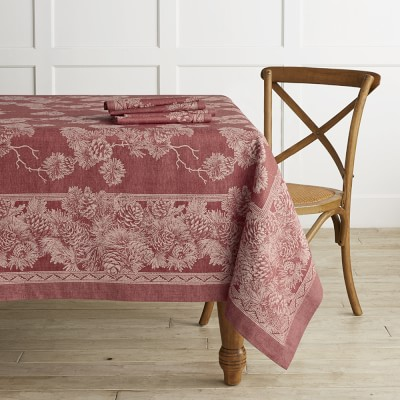 Pinecone Jacquard Tablecloth 70 X 126 Red Decor Table Cloth
