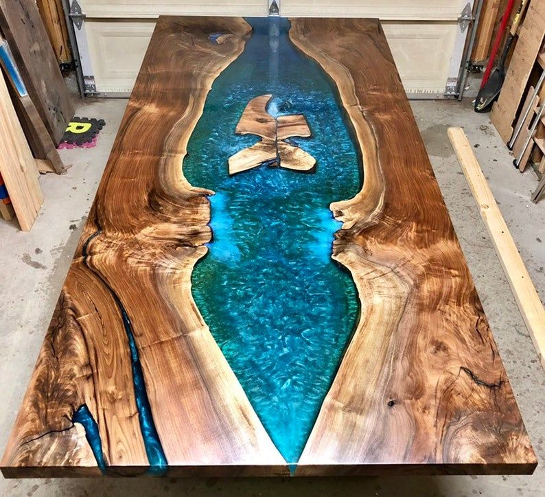 Custom Epoxy Resin River Dining Table #uniqueitemsproducts