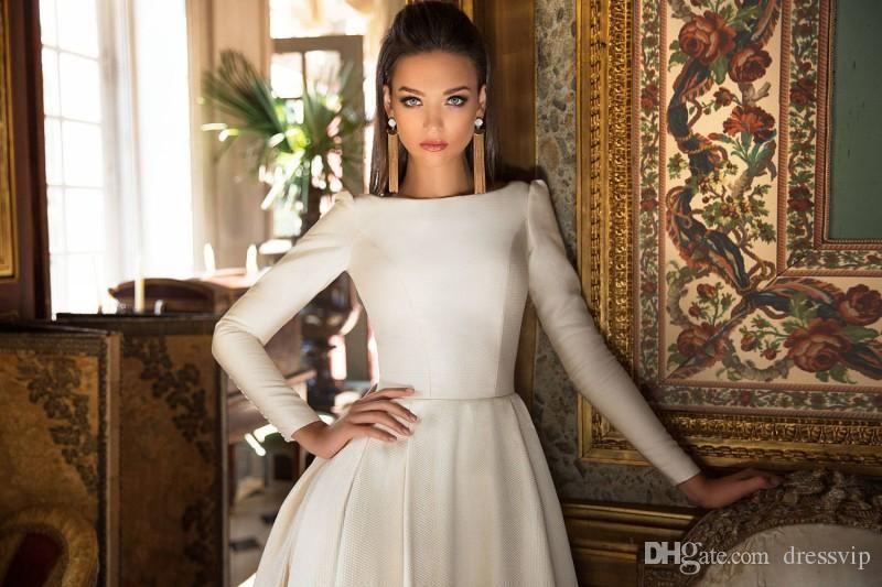 a291055544ea 2018 Milla Nova Wedding Dresses A Line Satin Backless Sweep Train Long  Sleeve Wedding Gowns Bateau Neck Winter Bridal Dress Plus Size