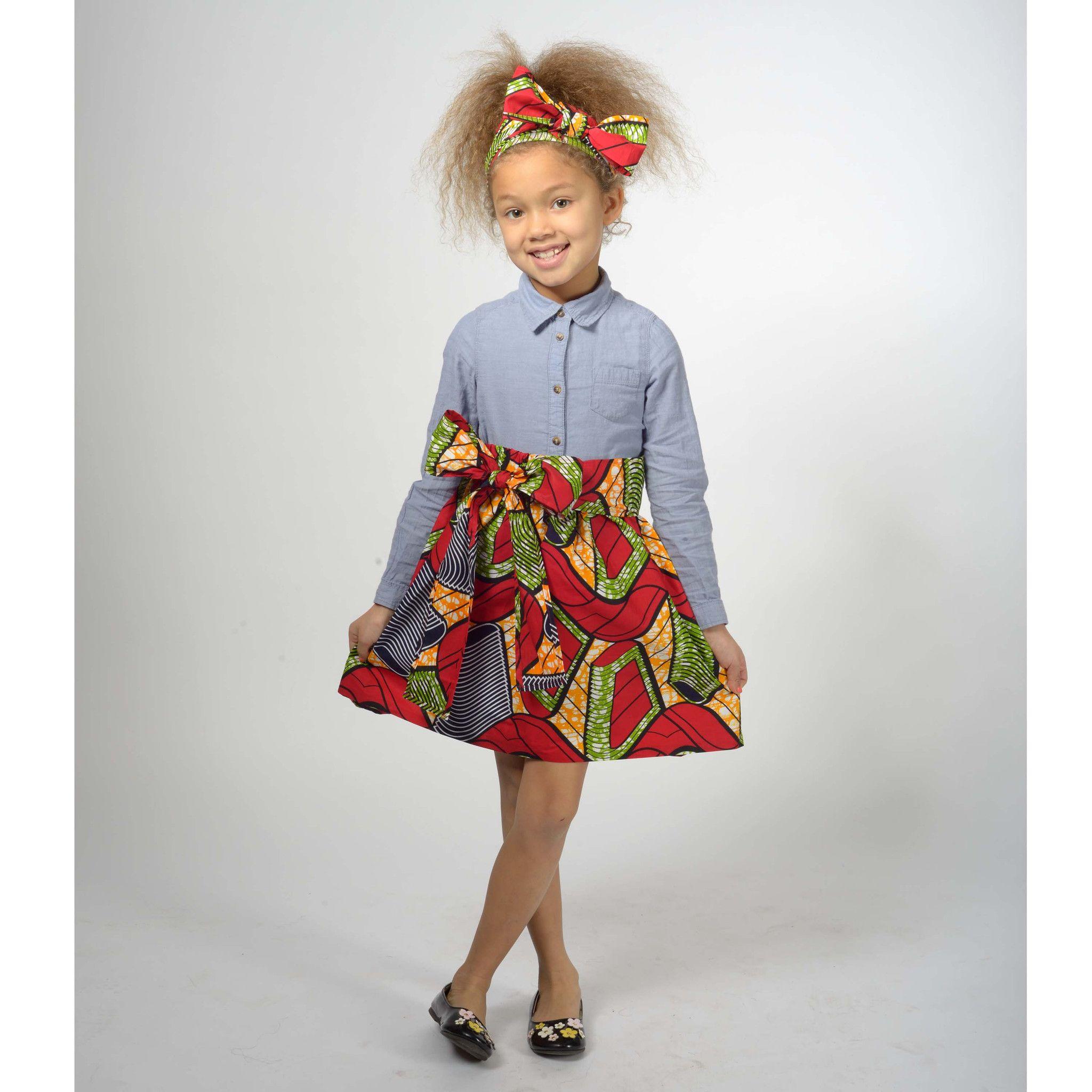 Abina african print full skirt for little girls red for Kids dress fabric