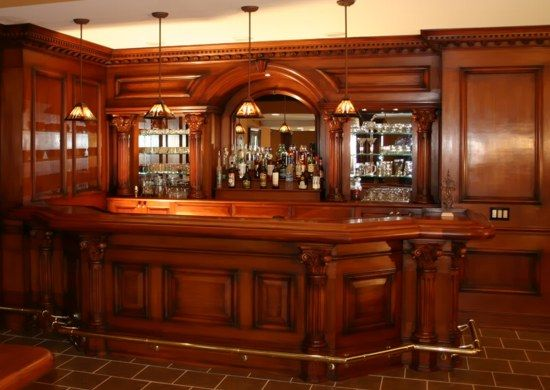 Residential bars and interior woodwork by wood laminates for Custom home bar plans