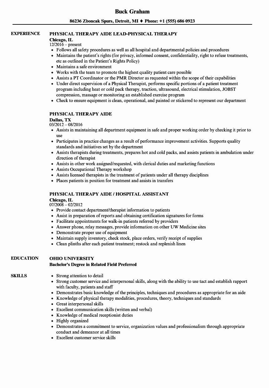 Physical Therapist Assistant Resume Awesome New Physical Therapist Assistant Resume Sample Physical Therapist Assistant Patient Care Assistant Resume Examples