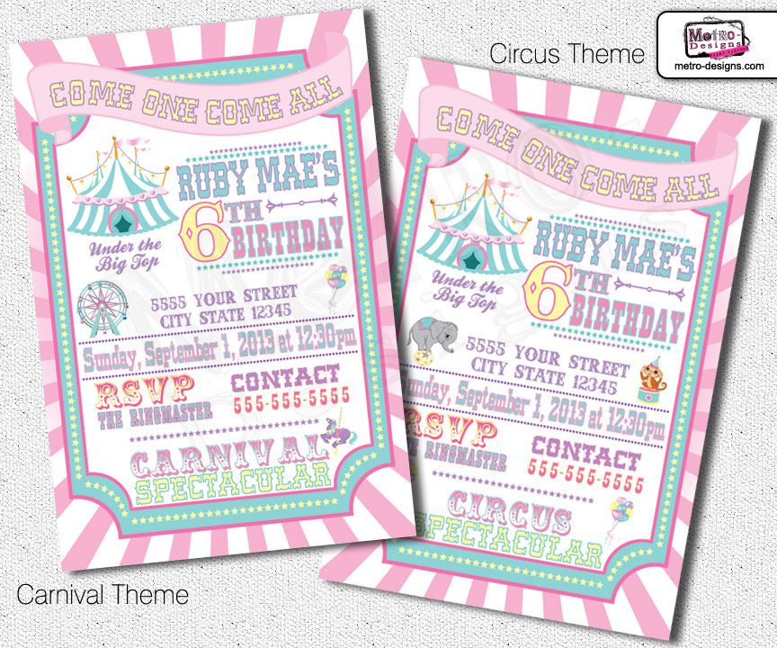 Circus or Carnival Party, Digital File Custom Invitations, this is - fresh invitation for birthday party by email