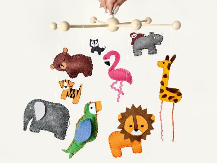 Diy Tutorial Make A Zoo Animal Mobile For Babies Via