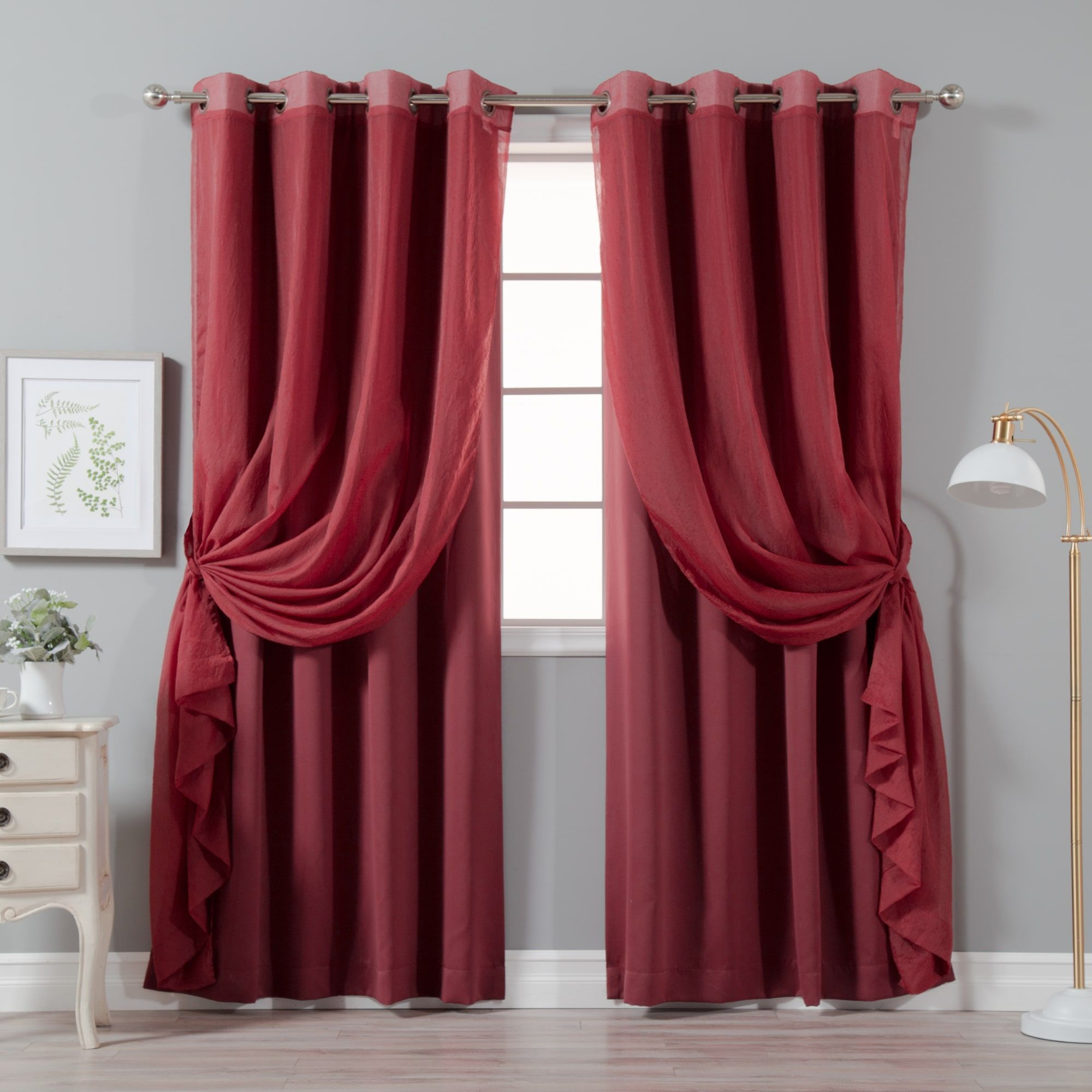 Aurora home mix and match crushed voile u solid blackout curtain
