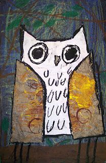 mixed media owls- 1st grade
