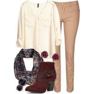 cream blouse + light brown skinny pants + maroon ankle boots + patterned scarf + dark blue stud earrings
