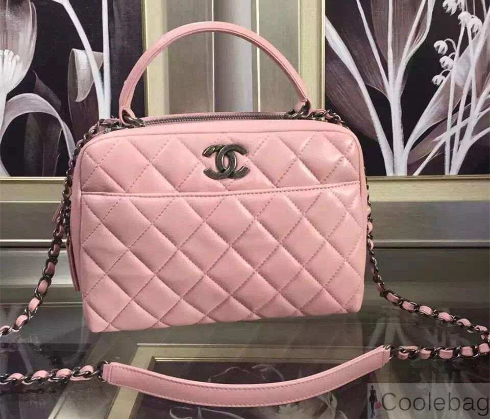 CHANEL LAMBSKIN BOWLING BAG EMBELLISHED WITH A METALLIC PLATE PINK ... 4c8f0ba416741
