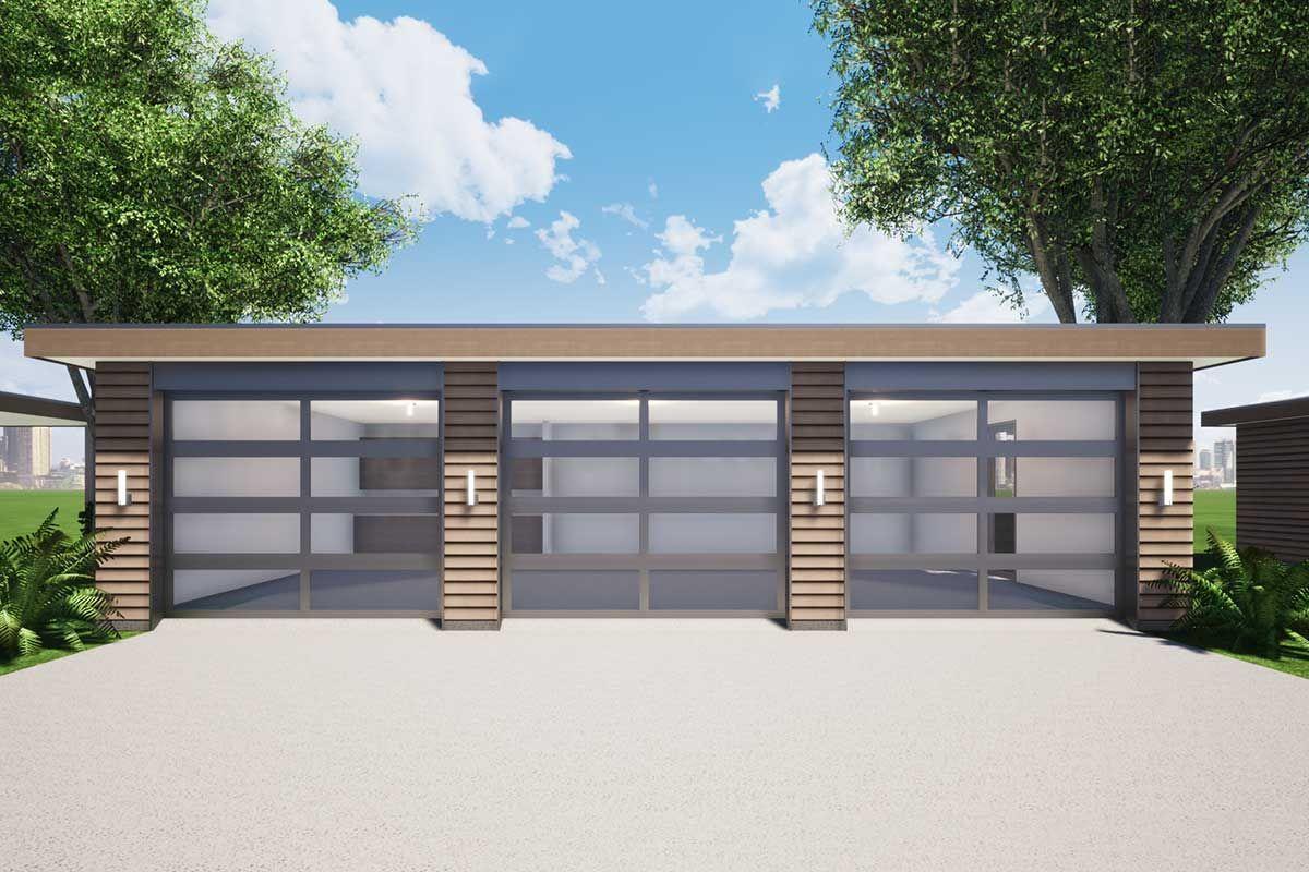 Plan 44184td 3 Car Detached Modern Garage With Concrete Siding Modern Garage Modern Garage Doors Concrete Siding