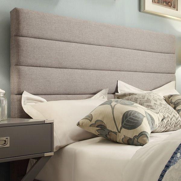 Tribecca Home Corbett Horizontal Striped Gray Linen Upholstered Queen Size Headboard